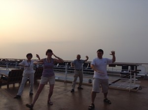 "Leading my Tai Chi ""class"" aboard the Celebrity Century"