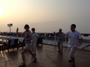 "Leading a Tai Chi ""class"" aboard the Celebrity Century"