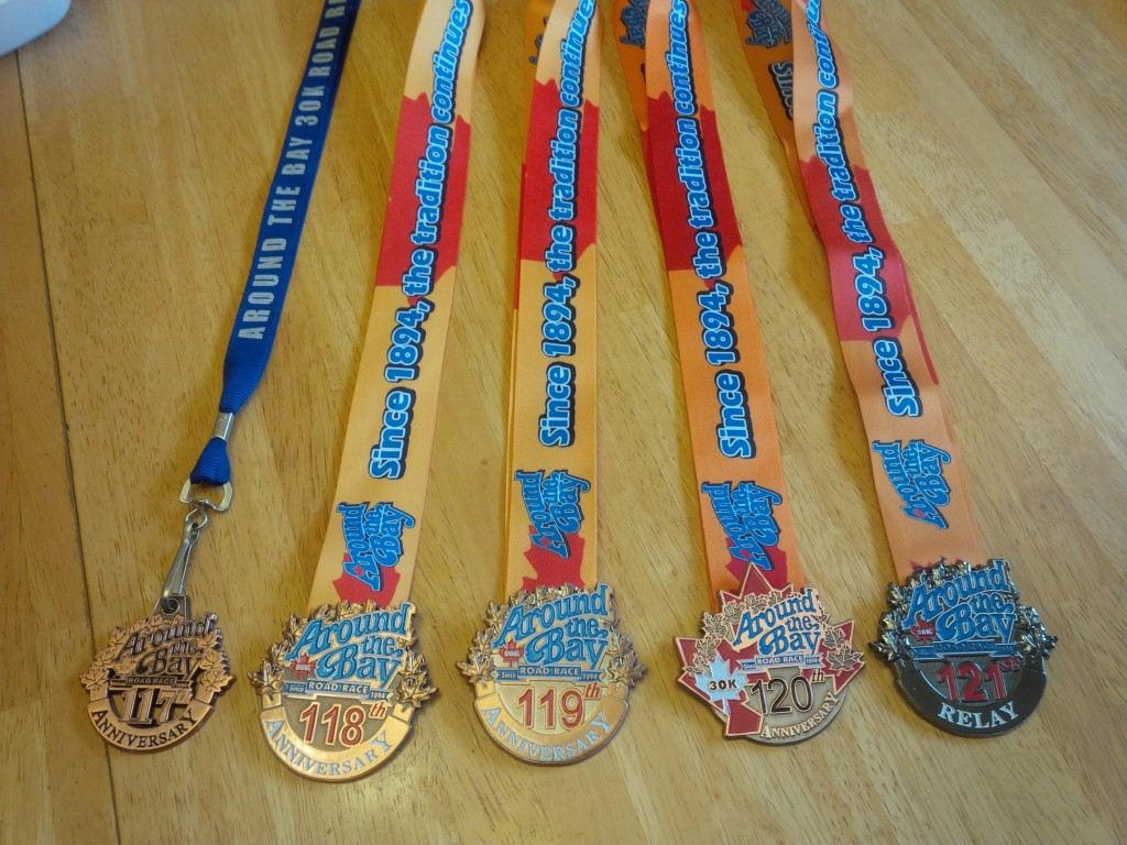 5 years of Around The Bay 30k medals (4 and half times around the bay)
