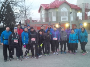Many Square One Running Room Runners before the Resolution Run in Port Credit, December 31, 2014