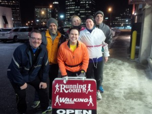 Group after a cold run outside the Square One Running Room