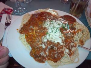 A very massive dish of spaghetti bolognese