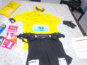 """Flat runner"" showing my gear before the Goodlife Fitness Toronto Marathon"