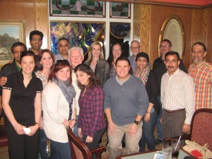 Group picture at the carb-loading dinner, May 1, 2015