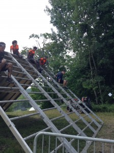 Coming down one of the last obstacles