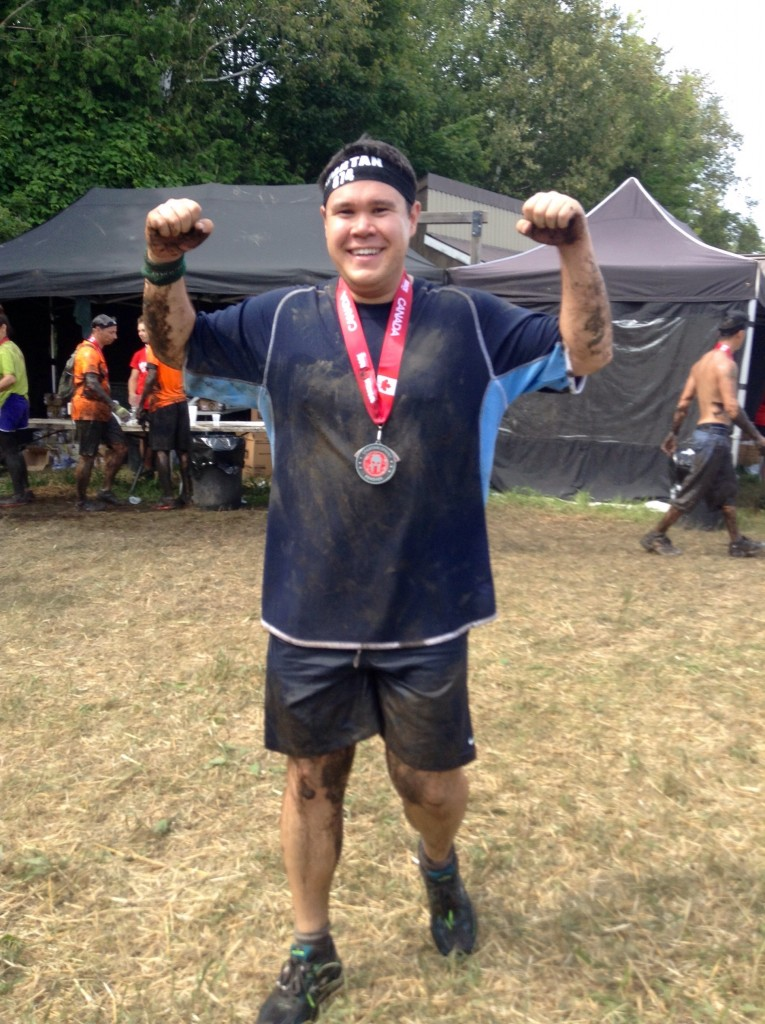 With medal shortly after finishing the Toronto Sprint Spartan Race