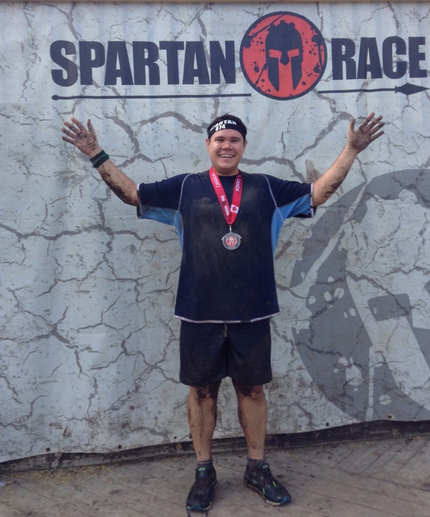 Posing after finishing the Toronto Sprint Spartan Race