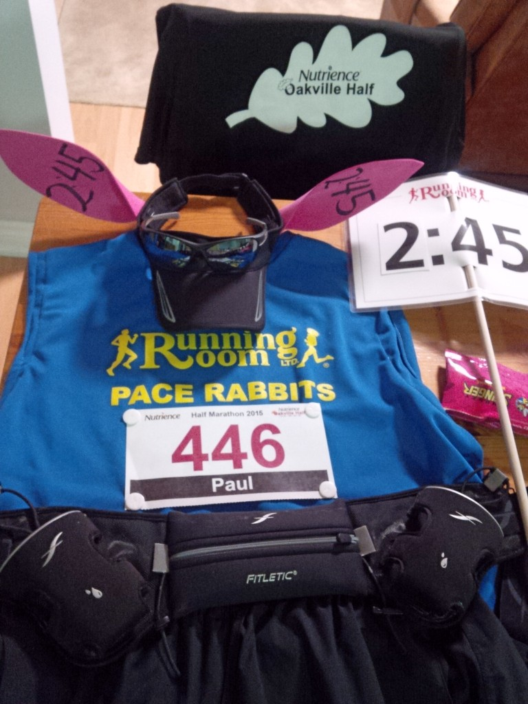 """Flat Runner"" pacer gear laid out the night before the Nutrience Oakville Half-Marathon"