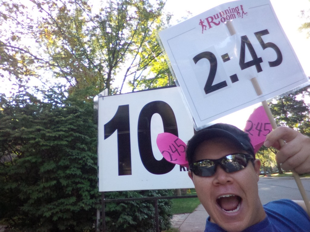 Still hamming it up at the 10km mark!