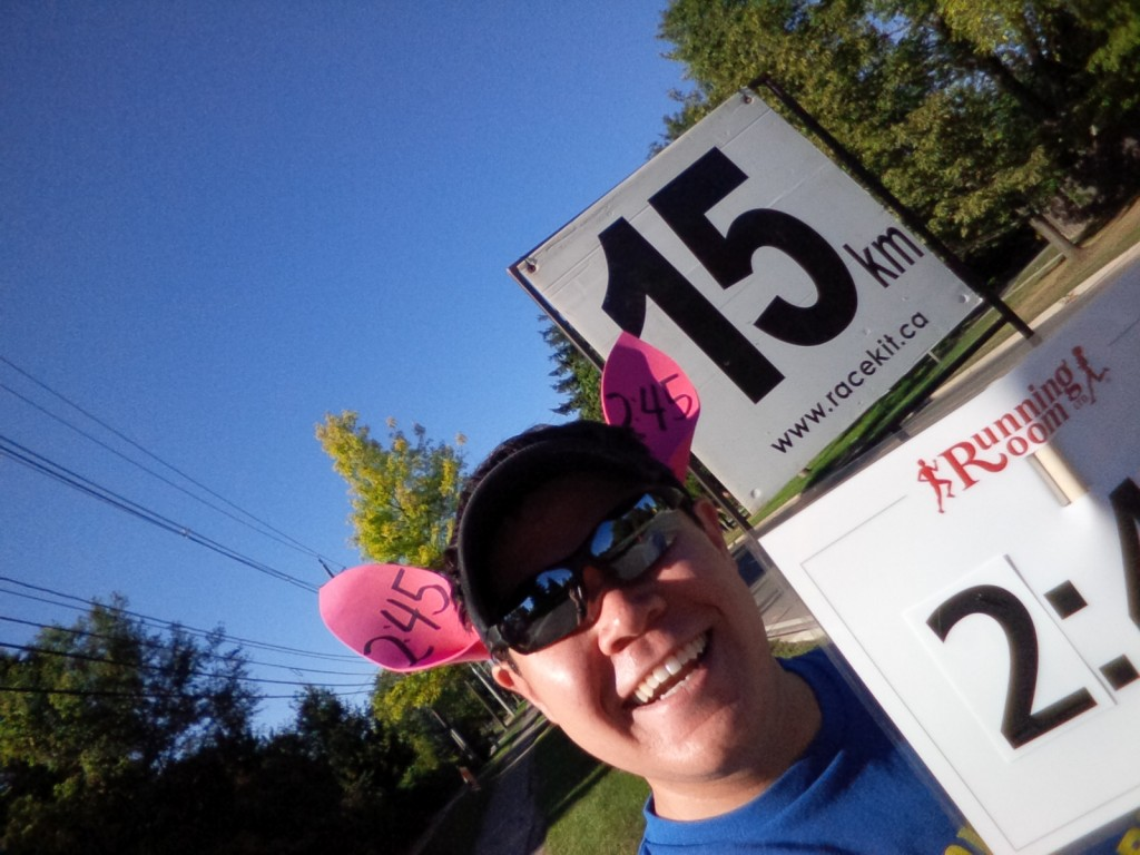 One last selfie at the 15km mark!
