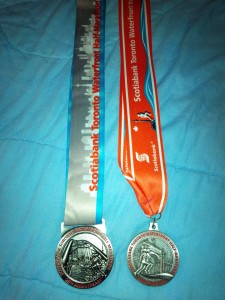 Scotiabank Toronto Waterfront Half-Marathon 2015 and 2010 medals