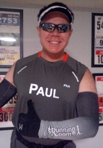 Trying on my race gear for the New York Marathon