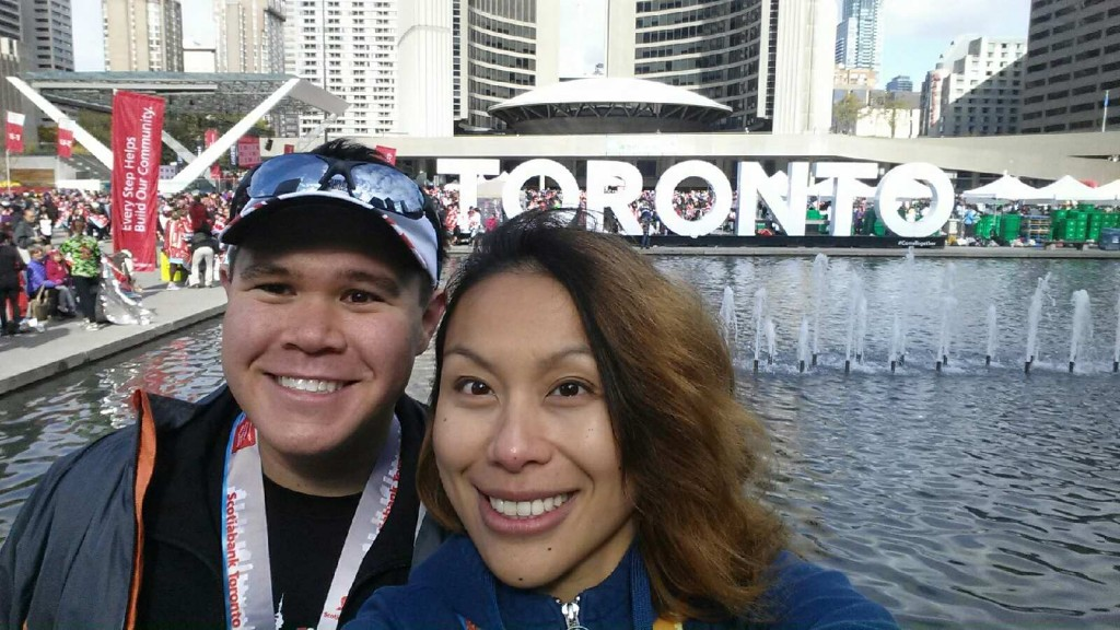 With my girlfriend Sharise after finishing the Scotiabank Toronto Waterfront Half-Marathon. She ran her first 5k earlier that morning.