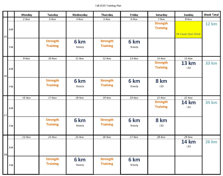 November 2015 Training Plan