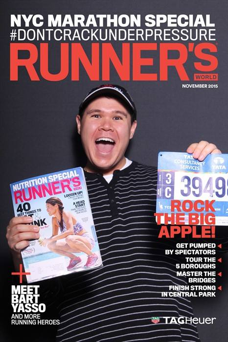 So, I had a recent copy of Runner's World in my backpack, so I held it up while posing for my Runner's World Cover. Too meta?