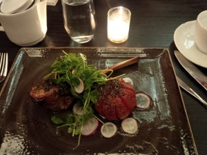 A delectable veal chop for dinner at Bistango at the Kimberly Hotel, NYC