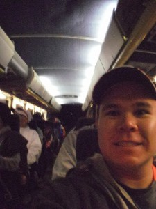 Onboard a shuttle bus to the start of the race