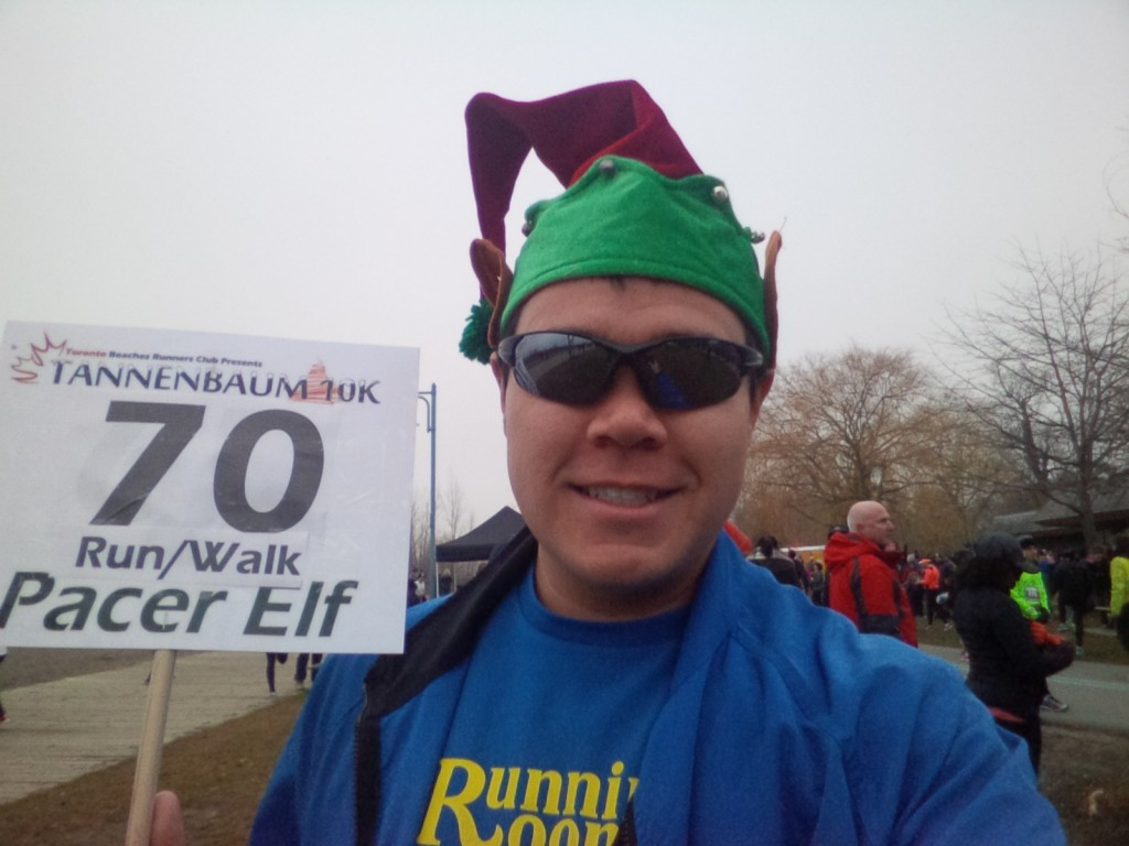 70 minute run/walk Pacer Elf ready for the 2015 Tannenbaum 10k