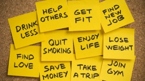 Typical New Year's Resolution Post-its