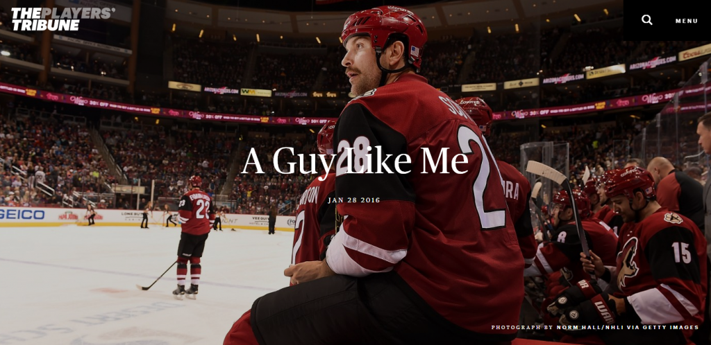 "Headline image of ""A Guy Like Me"" by John Scott in The Players' Tribune"