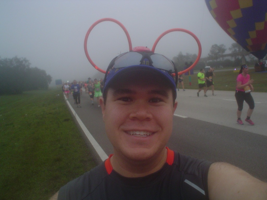 Selfie during the Walt Disney World Half-Marathon, featuring my Mickey ears