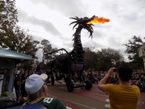 Festival of Fantasy Parade at Magic Kingdom: Maleficent dragon breathing fire!