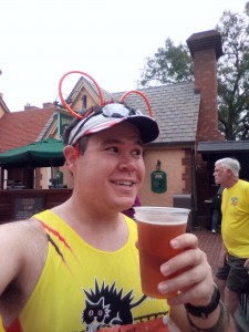 Less than 2 miles from the finish, time to stop for a beer