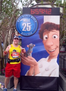 At the 25th mile of the Walt Disney World Marathon, beer in hand
