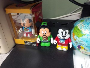 My Vinylmation RunDisney figures from 2013, 2014, and 2016. I wish I'd picked one up in 2012...