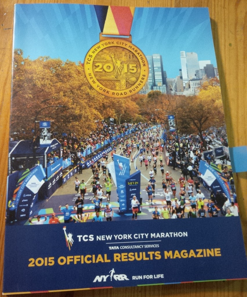 Cover of the TCS New York City Marathon 2015 Official Results Magazine