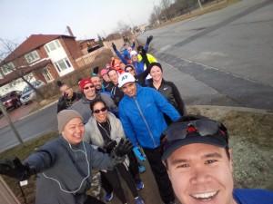 February 28: Group #runfie during an unseasonably warm run
