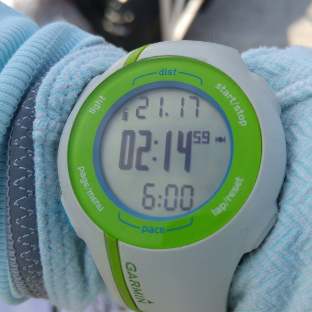 Photo of Patty's Garmin as she paced an essentially perfect 2:15 (photo stolen from her Facebook)