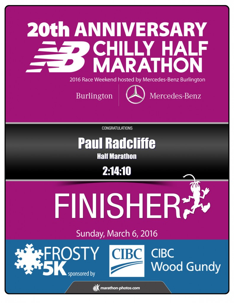 Finishers Certificate from 2016 Chilly Half-Marathon
