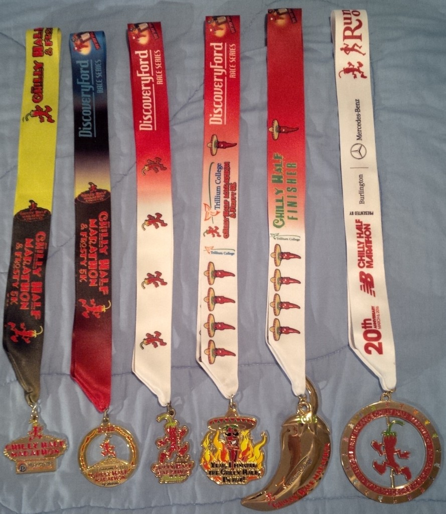 Six years of Chilly Half-Marathon medals