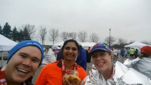 With Nagini and Anita after the Mississauga Half-marathon 2016