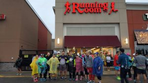 Pre-race group picture in the rain at the Square One Running Room