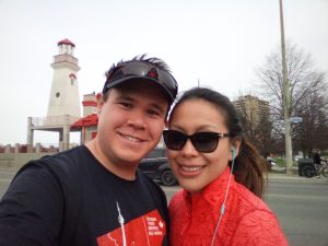Sharise and I posing in Port Credit before the Mississauga 5k