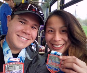 Sharise and I posing with our finish line medals after the Mississauga 5k