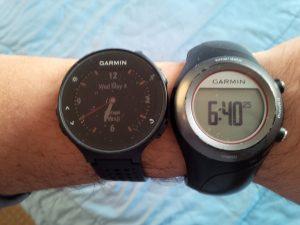 Garmin Forerunner 235 left) and old Garmin Forerunner 410 right)