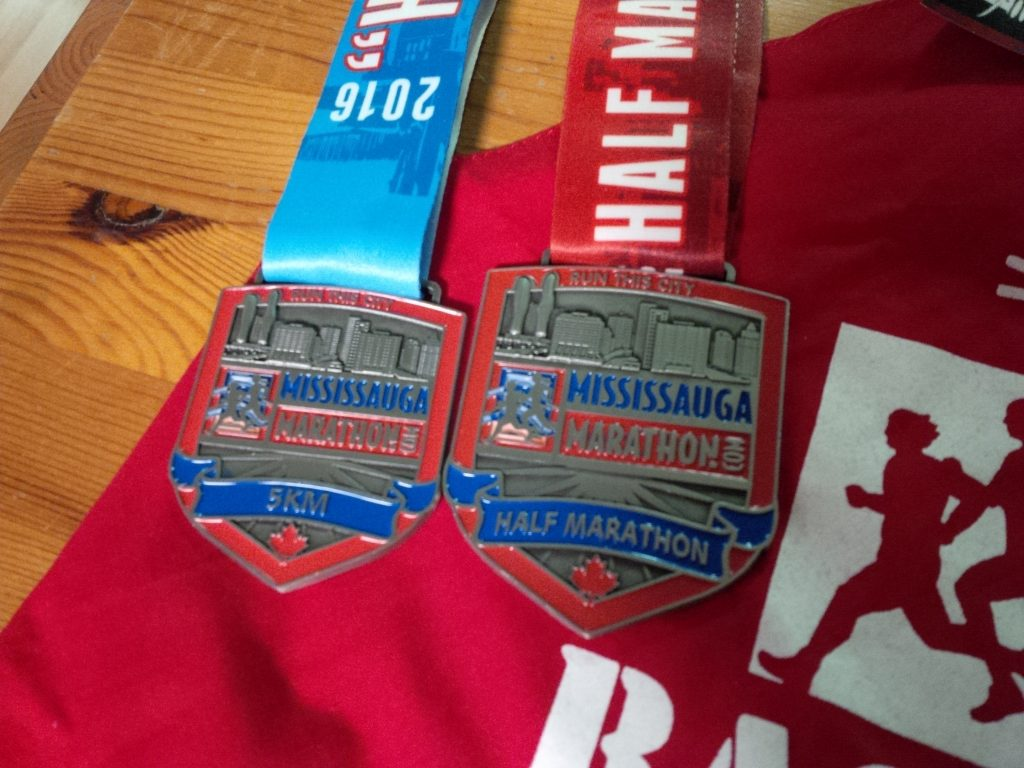 Mississauga Half-marathon and 5k medals 2016