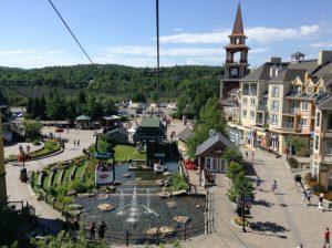 Taking the gondola through Mt. Tremblant's pedestrian village