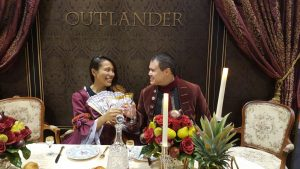 "Dressing up in fancy costumes at the ""Outlander"" booth"