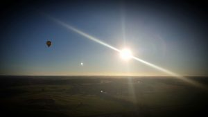 Sunrise, and view of another hot air balloon from our hot air balloon