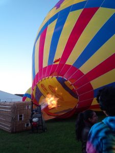 Hot air balloon getting its hot air