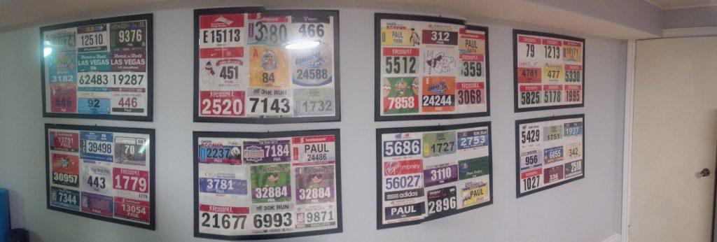 My race bibs display wall
